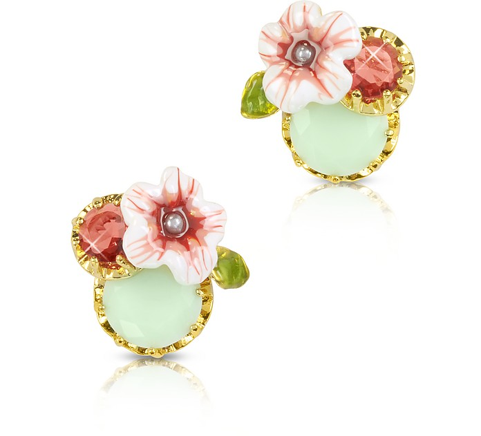 Eclatante Discretion Round Stone, Flower and Strass  Earrings - Les Nereides