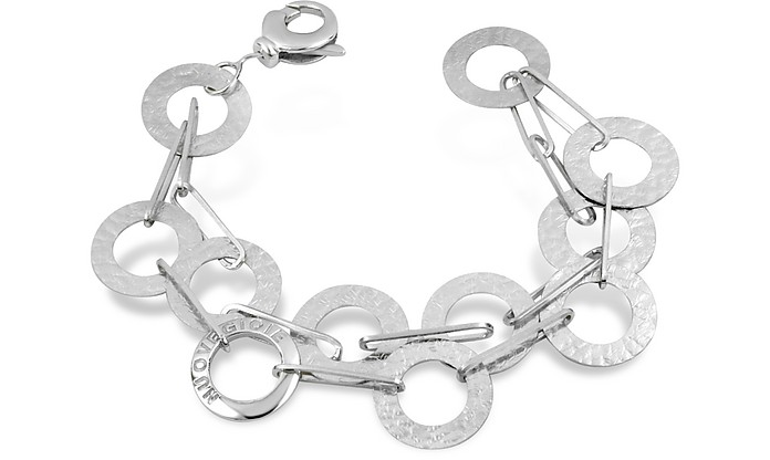 Sterling Silver Hammered Circle Double Chain Bracelet - Nuovegioie