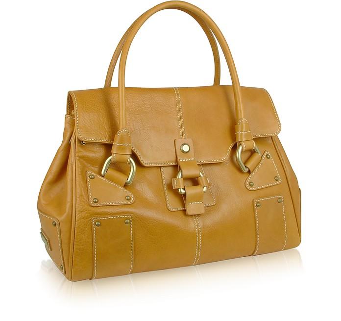 Colt - Top Flap Camel Italian Calf Leather Handbag - Nicoli