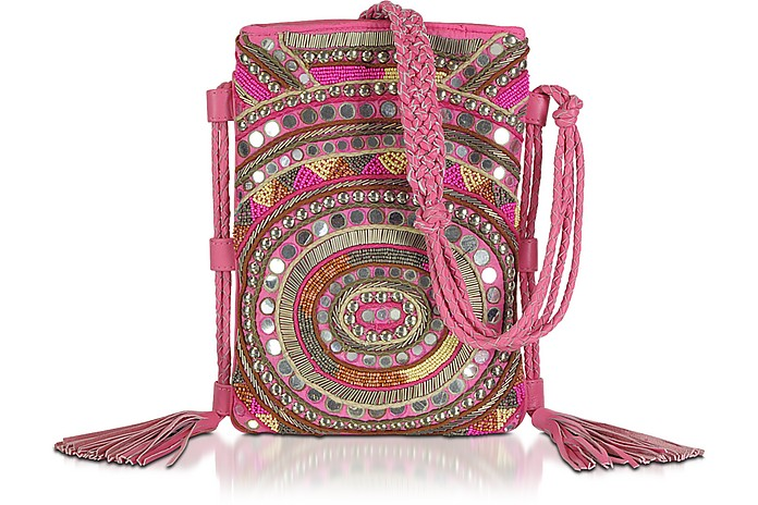 Pink Leather Mirror Shoulder Bag - Antik Batik
