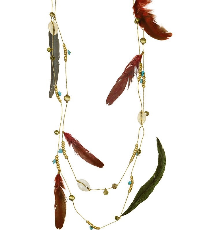 Kivas Feather and Chain Necklace - Antik Batik