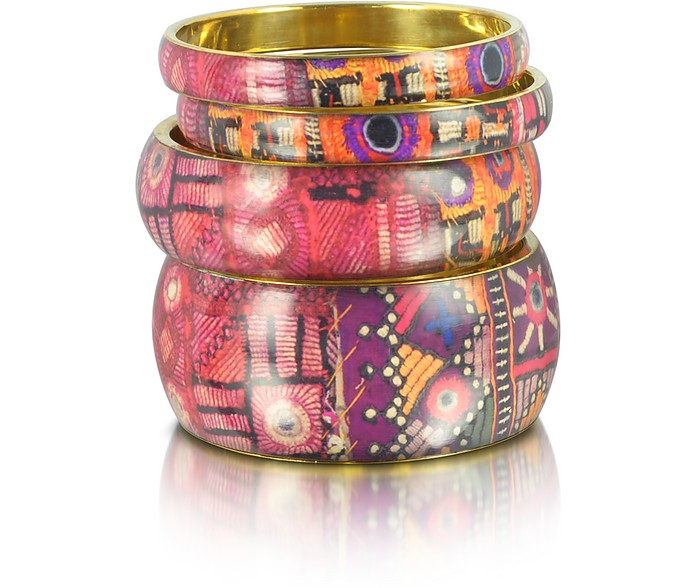 Adelai - Resin and Canvas Bangle Bracelets - Antik Batik