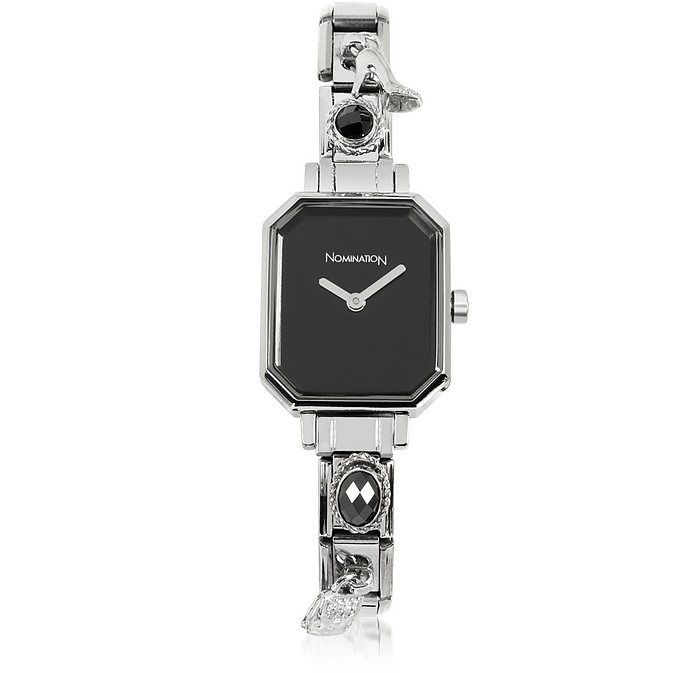 Silver Plated Stainless Steel Composable Women's Watch w/Black Dial - Nomination