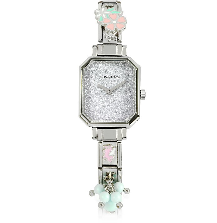 Silver Plated Stainless Steel Composable Women's Watch w/Crystals - Nomination