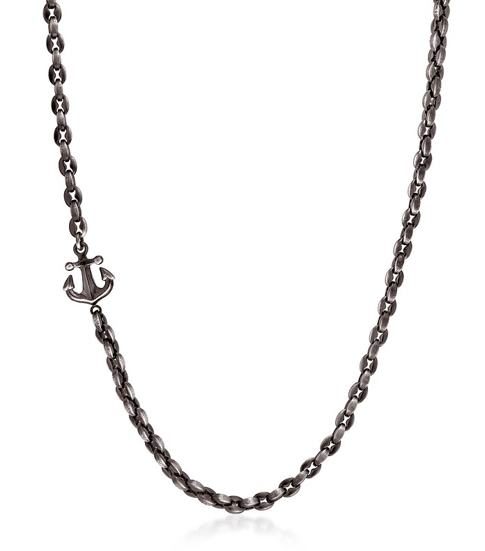 Black PVD Stainless Steel Men's Anchor Necklace - Nomination
