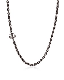 Black PVD Stainless Steel Men's Anchor Necklace