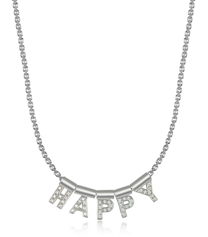 Sterling Silver and Swarovski Zirconia Happy Necklace - Nomination