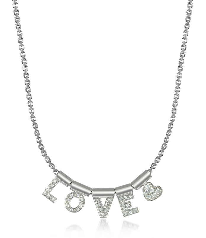 Sterling Silver and Swarovski Zirconia Love&Heart Necklace - Nomination