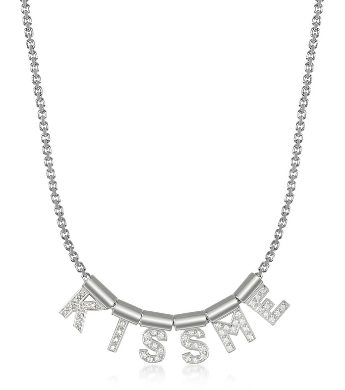 Sterling Silver and Swarovski Zirconia Kiss Me Necklace - Nomination