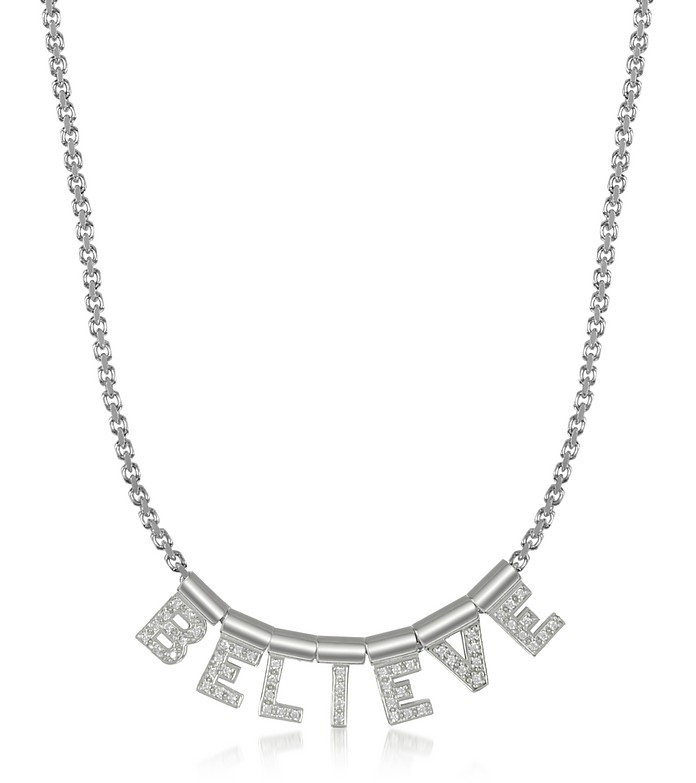 Sterling Silver and Swarovski Zirconia Believe Necklace - Nomination