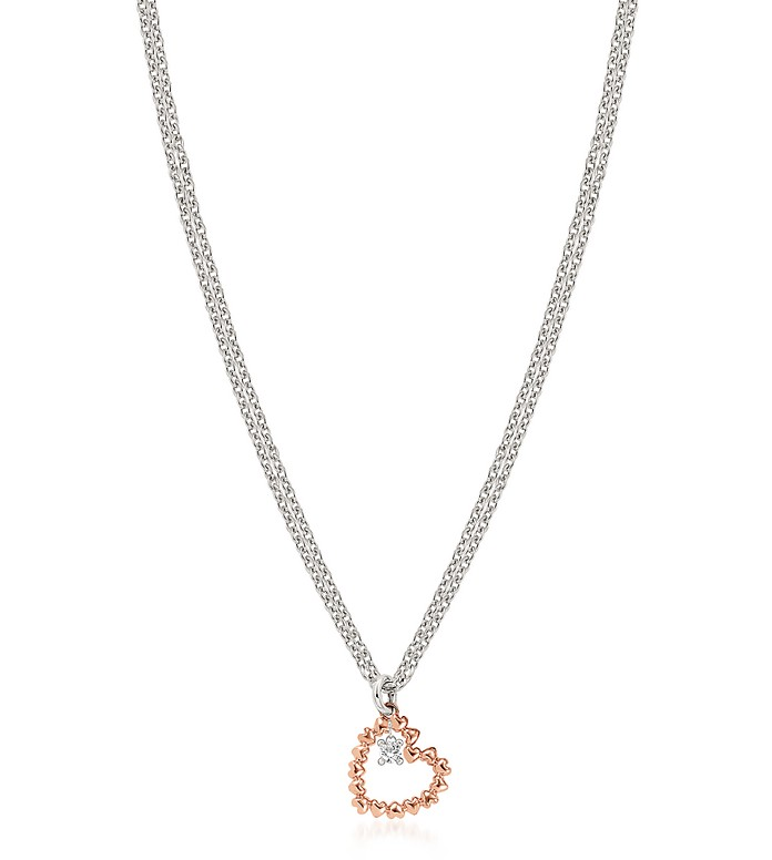 Sterling Silver and Cubic Zirconia Heart Charm Necklace - Nomination