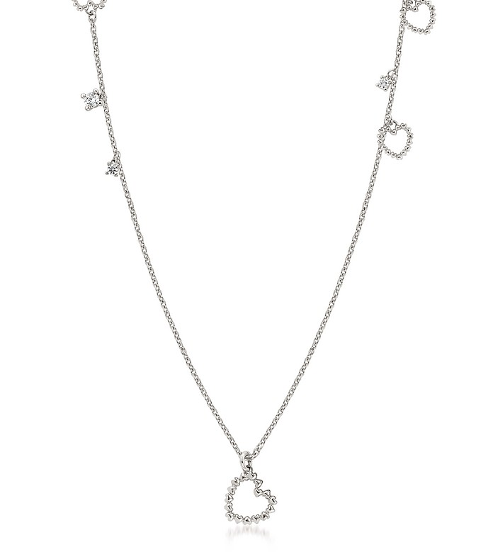 Sterling Silver and Cubic Zirconia Heart Charm Long Necklace - Nomination