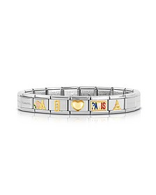 Classic I Love Paris Gold and Stainless Steel Bracelet w/ Cubic Zirconia - Nomination