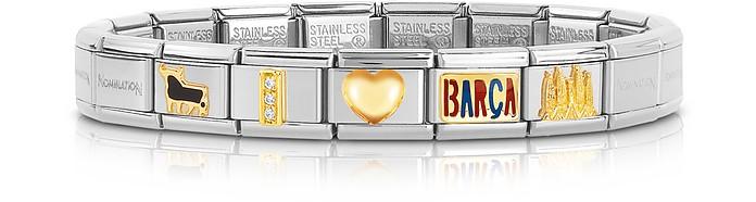 Classic I Love Barca Armband aus Gold und Edelstahl - Nomination