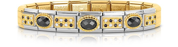 Classic Pavés Golden Stainless Steel Bracelet w/Black Stone and Cubic Zirconia - Nomination