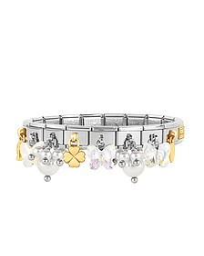 Classic Bright Charms Gold and Stainless Steel Bracelet w/Crystals and Pearls - Nomination