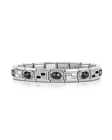 Classic Black & White Stainless Steel Bracelet w/Zircons - Nomination
