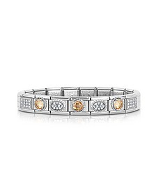 Classic Champagne Sterling Silver and Stainless Steel Bracelet w/Cubic Zirconia - Nomination