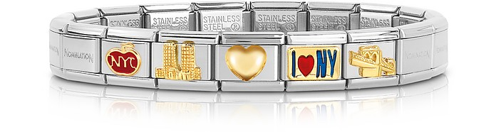 Classic I Love N.Y Golden Stainless Steel Bracelet - Nomination