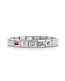 Classic I Love My Cat Stainless Steel Bracelet w/Pink Crystal Heart - Nomination