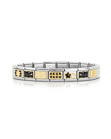 Classic Elegance Gold and Stainless Steel Bracelet w/Black Gemstone - Nomination