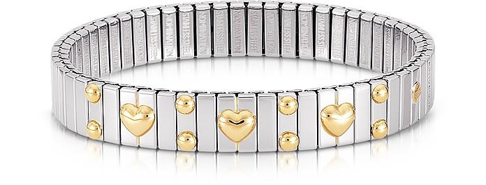 Amore Stainless Steel w/Golden Heatrs Women's Bracelet - Nomination