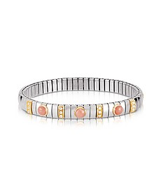 Golden Stainless Steel Women's Bracelet w/Pink Corals and Cubic Zirconia - Nomination