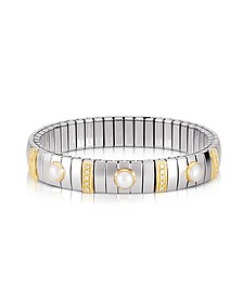 Three Pearls Golden Stainless Steel Women's Bracelet w/Cubic Zirconia - Nomination