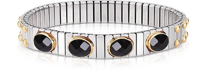 Black Cubic Zirconia Stainless Steel w/Golden Studs Women's Bracelet - Nomination