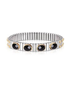 Black Cubic Zirconia Stainless Steel w/Golden Studs Women's Bracelet - Nomination