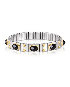 Small Black Cubic Zirconia Stainless Steel w/Golden Studs Women's Bracelet - Nomination