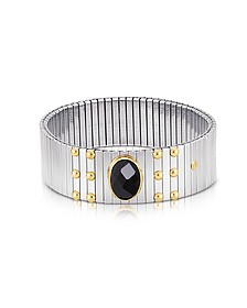 Single Black Cubic Zirconia Stainless Steel w/Golden Studs Women's Bracelet - Nomination
