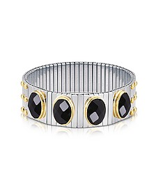 Four Black Cubic Zirconia Stainless Steel w/Golden Studs Women's Bracelet - Nomination