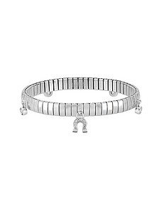Stainless Steel Women's Bracelet w/Sterling Silver Charms and Cubic Zirconia - Nomination