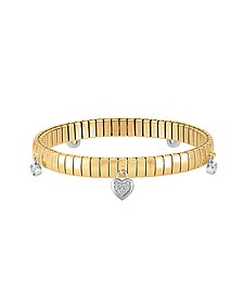 Yellow Gold PVD Stainless Steel Women's Bracelet w/Heart Charms and Cubic Zirconia - Nomination