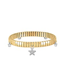 Gold PVD Stainless Steel Women's Bracelet w/Stearling Silver Star and Cubic Zirconia - Nomination