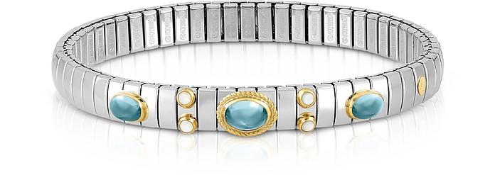 Stainless Steel Women's Bracelet w/Light Blue Topaz Oval Beads - Nomination