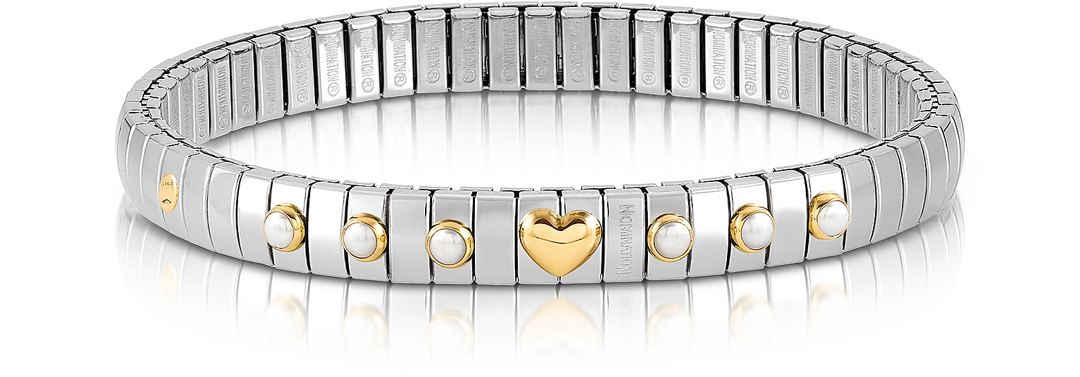 Stainless Steel Women's Bracelet w/White Pearls and Golden Heart