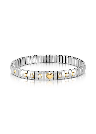 Stainless Steel Women's Bracelet w/White Pearls and Golden Heart - Nomination