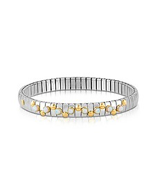 Golden Stainless Steel Women's Bracelet w/White Opal Beads - Nomination