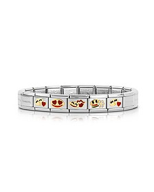 Stainless Steel Women's Bracelet w/Golden Emoticons  - Nomination