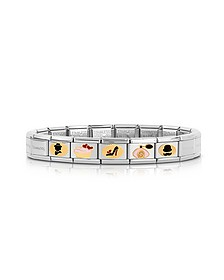 Stainless Steel Bracelet w/Golden Madame&Monsieur Symbols - Nomination