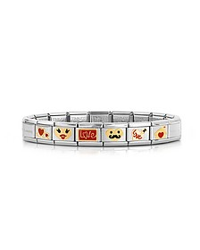 Stainless Steel Bracelet w/Golden Love Emoticons - Nomination