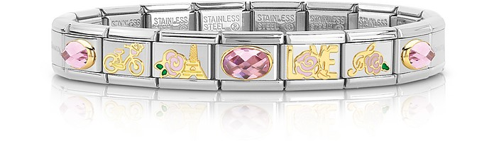 La Vie en Rose Golden Stainless Steel Bracelet w/Cubic Zirconia - Nomination