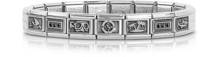 Summer Sports Stainless Steel Men's Bracelet w/Stearling Silver Symbols - Nomination