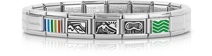 Winter Sports Stainless Steel Men's Bracelet w/Stearling Silver & Enamel Symbols - Nomination