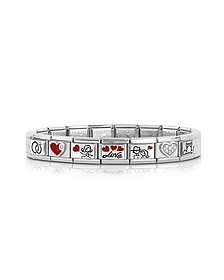 Wedding Stainless Steel Bracelet w/Stearling Silver Symbols and Cubic Zirconia - Nomination