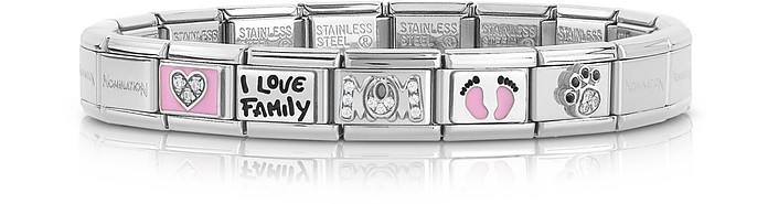 Classic Mamma Stainless Steel Women's Bracelet w/Pink Symbols - Nomination