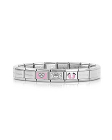 Classic Mamma Stainless Steel Women's Bracelet w/Pink Symbols and Cubic Zirconia - Nomination