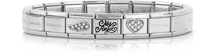 Classic My Angel Stainless Steel Women's Bracelet w/Cubic Zirconia - Nomination